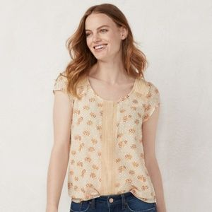 ** NEW ** LC Peach Floral Dot Top Peasant Boho